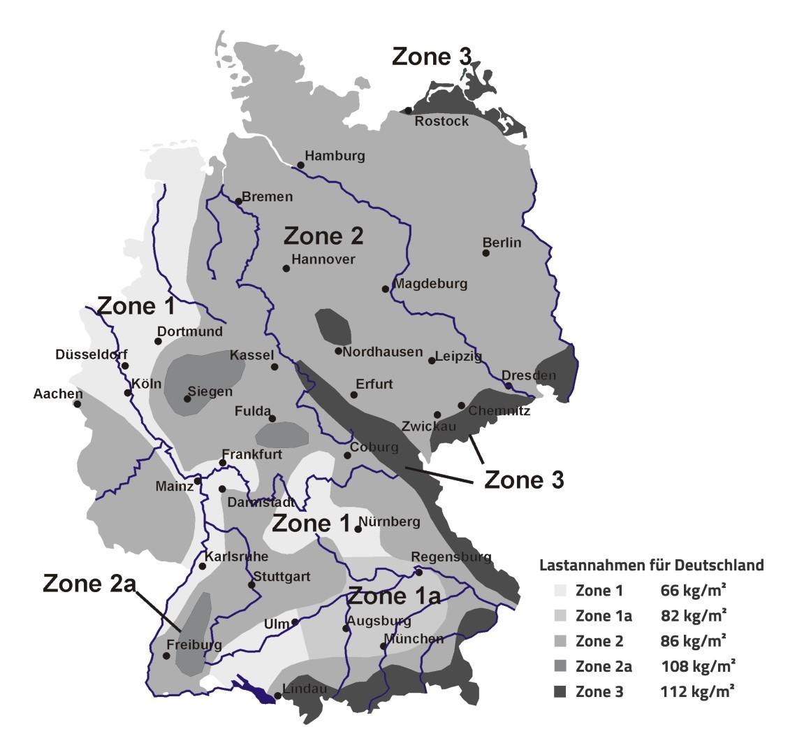 Schneelastzonenkarte der envitron-systems GmbH